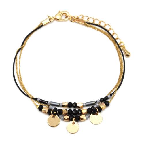Bracelet-Multi-Rangs-Chaine-Metal-Dore-avec-Pampilles-et-Perles-Noires