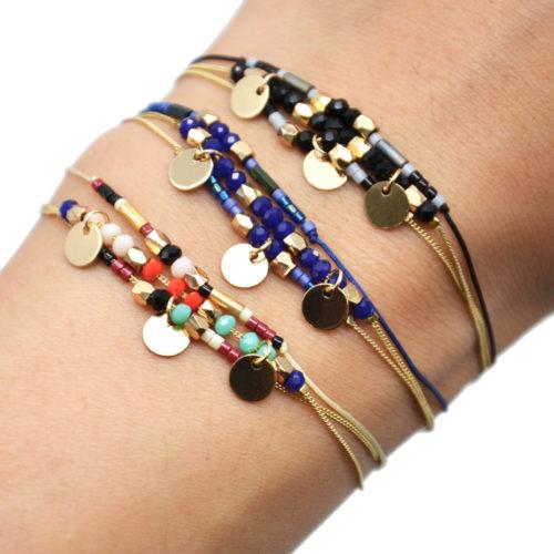 Bracelet-Multi-Rangs-Chaine-Metal-Dore-avec-Pampilles-et-Perles