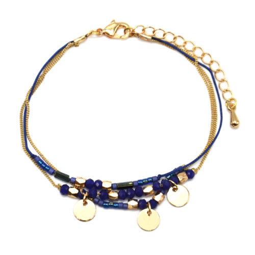 Bracelet-Multi-Rangs-Chaine-Metal-Dore-avec-Pampilles-et-Perles-Bleu-Marine