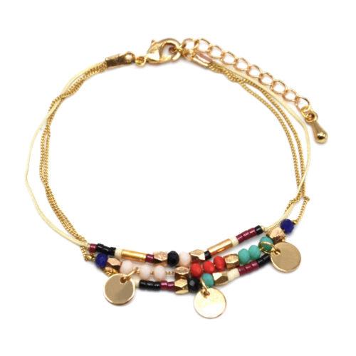 Bracelet-Multi-Rangs-Chaine-Metal-Dore-avec-Pampilles-et-Perles-Multicolore