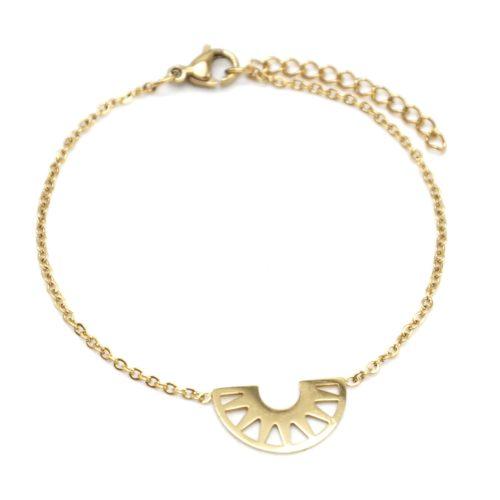Bracelet-Fine-Chaine-avec-Charm-Demi-Cercle-Ajoure-Acier-Dore