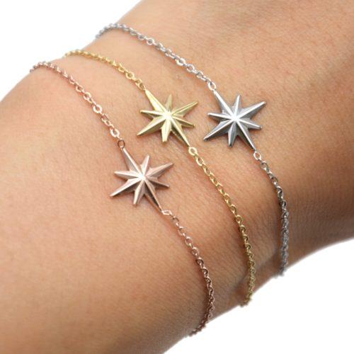 Bracelet-Fine-Chaine-avec-Charm-Etoile-Polaire-Acier