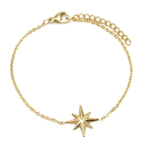 Bracelet-Fine-Chaine-avec-Charm-Etoile-Polaire-Acier-Dore