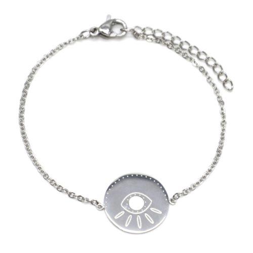 Bracelet-Fine-Chaine-avec-Charm-Medaille-Gravure-Oeil-Acier-Argente