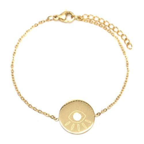 Bracelet-Fine-Chaine-avec-Charm-Medaille-Gravure-Oeil-Acier-Dore