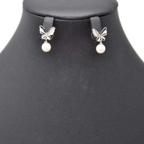 Boucles-dOreilles-Papillon-Noir-Blanc-Strass-Zirconium-Argente-avec-Perle-Ecru