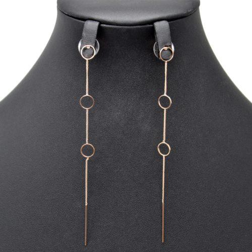 Boucles-dOreilles-Pendantes-Triple-Cercles-et-Fine-Chaine-Metal-Or-Rose