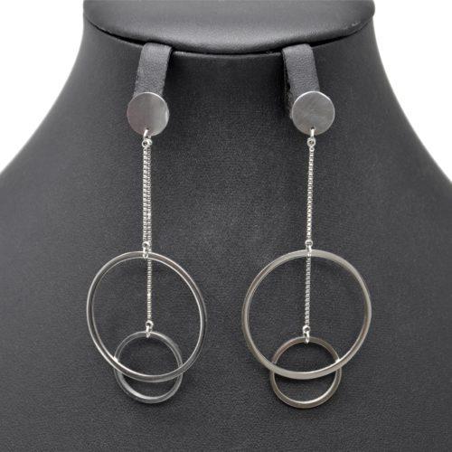 Boucles-dOreilles-Medaille-avec-Double-Cercles-Contour-Acier-Argente