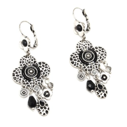 Boucles-dOreilles-Trefle-Metal-Relief-Argente-avec-Charms-et-Perles-Noires