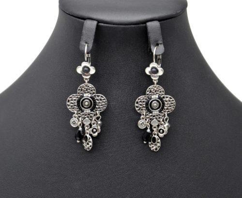 Boucles-dOreilles-Trefle-Metal-Relief-Argente-avec-Charms-et-Perles-Noires