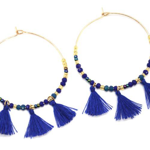 Boucles-dOreilles-Creoles-Metal-Dore-avec-Perles-et-Pompons-Bleu-Roi