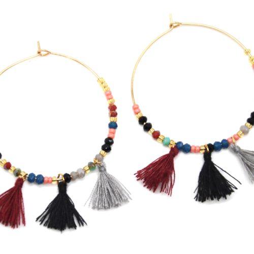 Boucles-dOreilles-Creoles-Metal-Dore-avec-Perles-et-Pompons-Multicolore