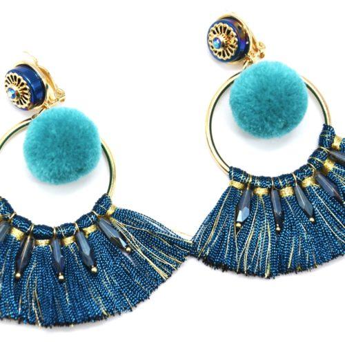 Boucles-dOreilles-Cercle-Metal-Dore-avec-Pompon-Boule-et-Fils-Bleu