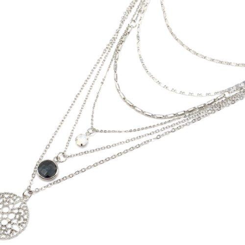 Collier-Multi-Rangs-Chaines-Metal-Argente-avec-Pierres-et-Medaille-Ajouree