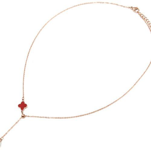 Collier-Fine-Chaine-Acier-Or-Rose-avec-Pendentif-Y-Trefle-Rouge-et-Perle-Ecru