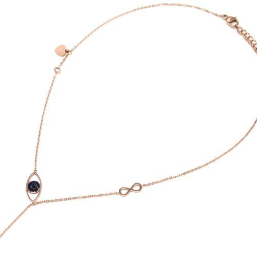 Collier-Fine-Chaine-Acier-Or-Rose-avec-Pendentif-Y-Oeil-Strass-Infini-et-Pique