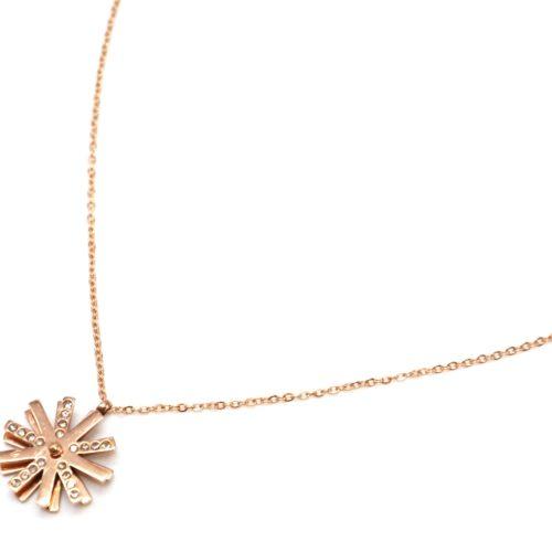 Collier-Fine-Chaine-Acier-Or-Rose-avec-Pendentif-Flocon-Tournant-Strass