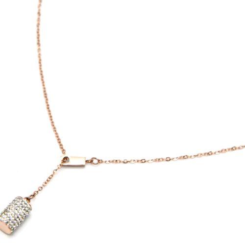 Collier-Fine-Chaine-Acier-Or-Rose-avec-Pendentif-Y-Tube-Strass