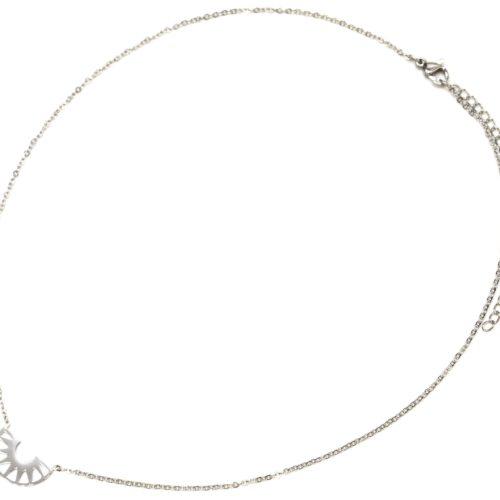 Collier-Fine-Chaine-avec-Pendentif-Demi-Cercle-Ajoure-Acier-Argente