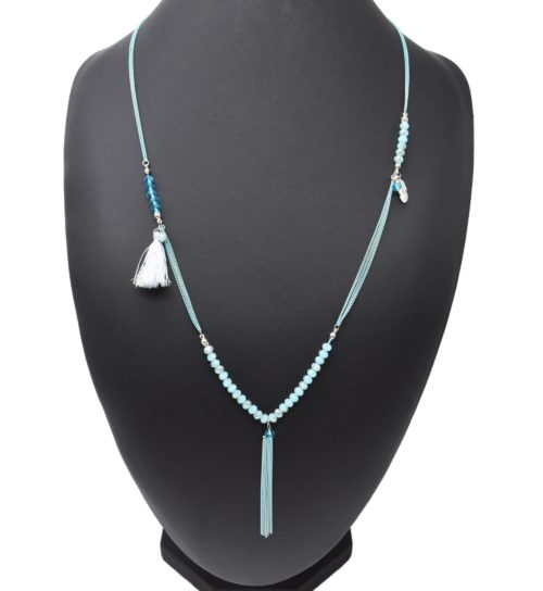 Sautoir-Collier-Multi-Chaines-Metal-avec-Perles-Plume-et-Pompon-Bleu