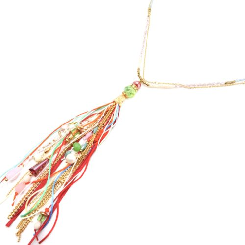 Sautoir-Collier-Mini-Perles-avec-Pompon-Rubans-Chaines-Perles-Pierres-Multicolore-Dore