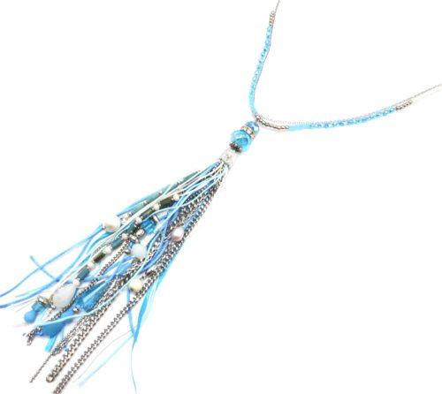 Sautoir-Collier-Mini-Perles-avec-Pompon-Rubans-Chaines-Perles-Pierres-Bleu-Argente