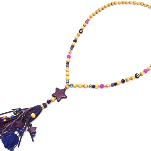 Sautoir-Collier-Perles-Bois-avec-Etoile-Effet-Marbre-et-Pompons-Franges-Violet
