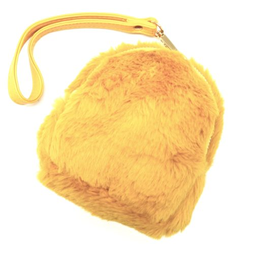 Pochette-Mini-Sac-a-Dos-Porte-Monnaie-Fourrure-Synthetique-Jaune-Moutarde