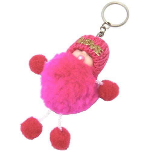 Porte-Cles-Bijou-de-Sac-Petit-Bebe-avec-Bonnet-et-Multi-Boules-Pompon-Fuchsia