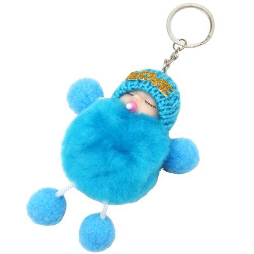 Porte-Cles-Bijou-de-Sac-Petit-Bebe-avec-Bonnet-et-Multi-Boules-Pompon-Bleu
