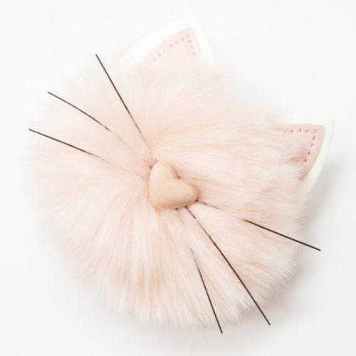 Porte-Cles-Bijou-de-Sac-Pompon-Rose-avec-Tete-Chat-et-Oreilles