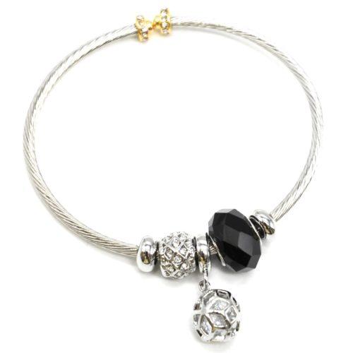 Bracelet-Jonc-Relief-avec-Charms-Perle-Noire-Strass-Zirconium-et-Boule-Metal-Argente