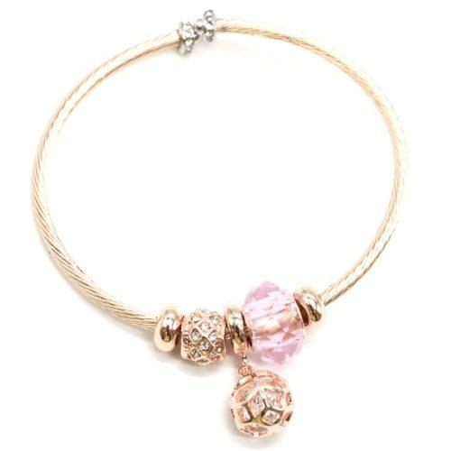 Bracelet-Jonc-Relief-avec-Charms-Perle-Rose-Strass-Zirconium-et-Boule-Metal-Or-Rose