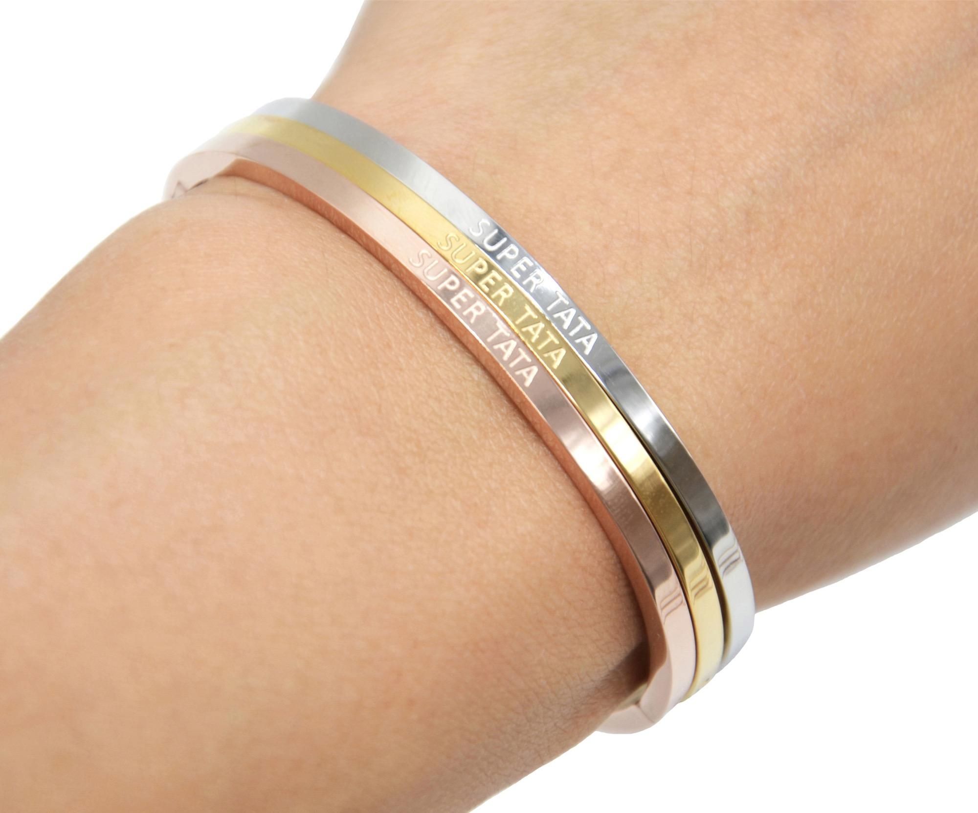 magasin en ligne 7b05b c8bfd BC3191F - Bracelet Jonc Fin Acier Or Rose avec Message Super Tata