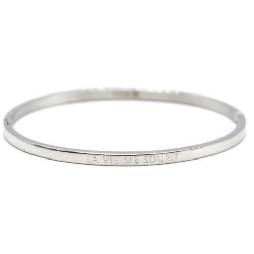 Bracelet-Jonc-Fin-Acier-Argente-avec-Message-La-Vie-Me-Sourit
