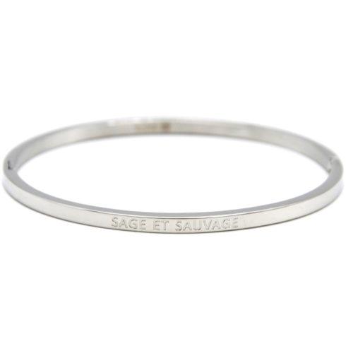 Bracelet-Jonc-Fin-Acier-Argente-avec-Message-Sage-et-Sauvage