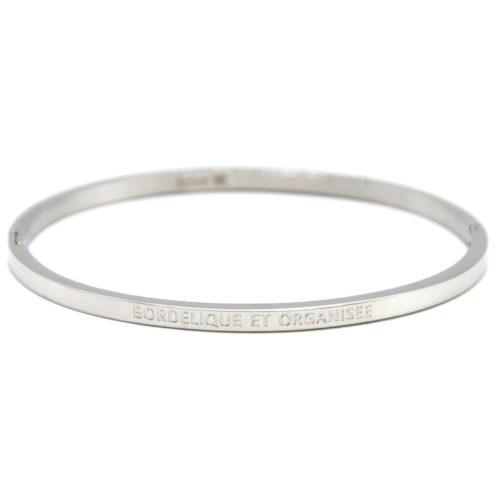 Bracelet-Jonc-Fin-Acier-Argente-avec-Message-Bordelique-et-Organisee