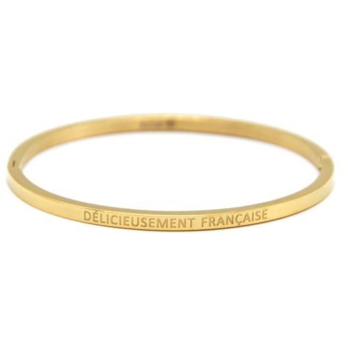 Bracelet-Jonc-Fin-Acier-Dore-avec-Message-Delicieusement-Francaise
