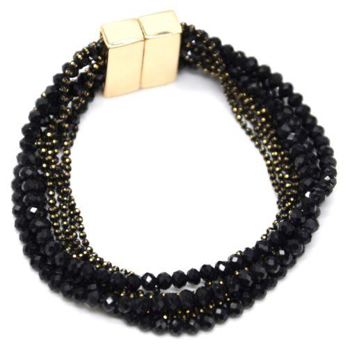 Bracelet-Manchette-Multi-Rangs-Boules-Metal-et-Perles-Brillantes-Noires