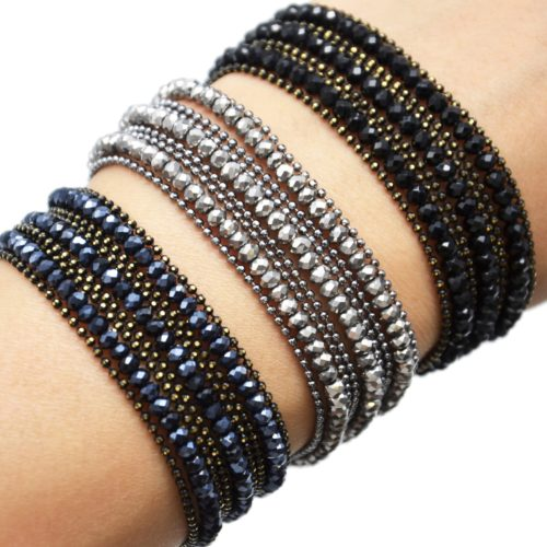 Bracelet-Manchette-Multi-Rangs-Boules-Metal-et-Perles-Brillantes