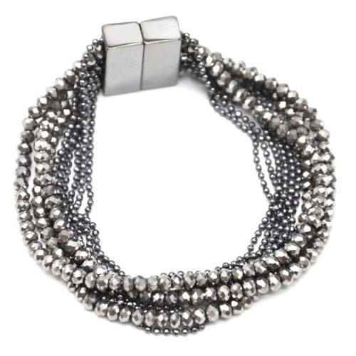 Bracelet-Manchette-Multi-Rangs-Boules-Metal-et-Perles-Brillantes-Grises