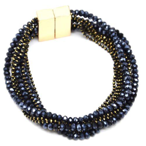 Bracelet-Manchette-Multi-Rangs-Boules-Metal-et-Perles-Brillantes-Bleu-Nuit