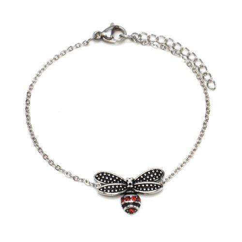 Bracelet-Fine-Chaine-avec-Charm-Abeille-Effet-Vieilli-Acier-Argente-et-Strass