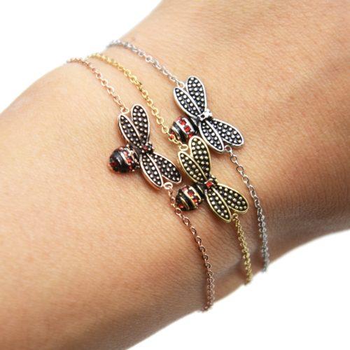 Bracelet-Fine-Chaine-avec-Charm-Abeille-Effet-Vieilli-Acier-et-Strass