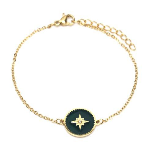 Bracelet-Fine-Chaine-Acier-Dore-avec-Cercle-Email-Vert-Sapin-Motif-Etoile-Polaire