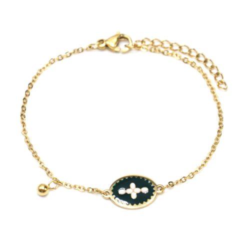 Bracelet-Fine-Chaine-Acier-Dore-avec-Ovale-Email-Vert-Sapin-Motif-Croix