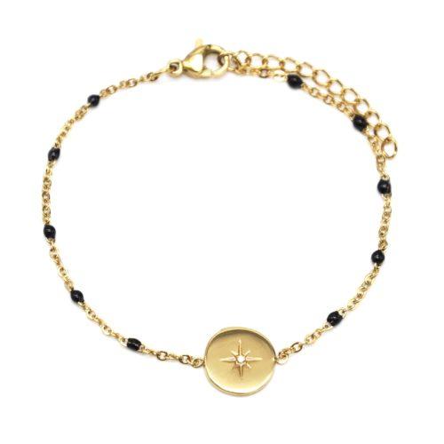 Bracelet-Fine-Chaine-Acier-Dore-et-Mini-Perles-Email-Noir-avec-Cercle-Etoile-Polaire