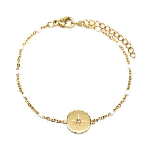 Bracelet-Fine-Chaine-Acier-Dore-et-Mini-Perles-Email-Blanc-avec-Cercle-Etoile-Polaire