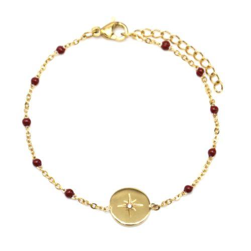 Bracelet-Fine-Chaine-Acier-Dore-et-Mini-Perles-Email-Bordeaux-avec-Cercle-Etoile-Polaire