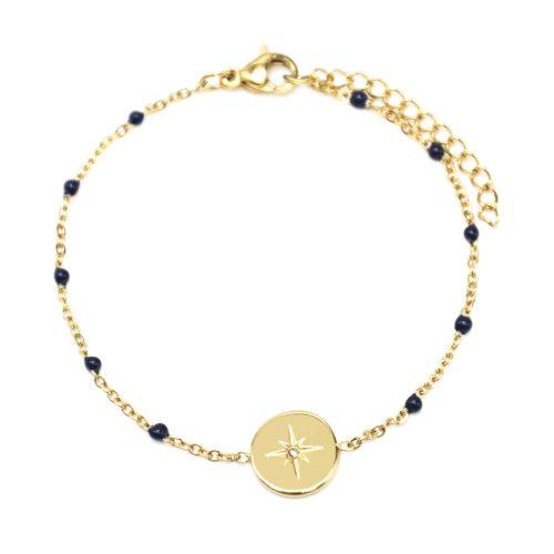 Bracelet-Fine-Chaine-Acier-Dore-et-Mini-Perles-Email-Bleu-Nuit-avec-Cercle-Etoile-Polaire